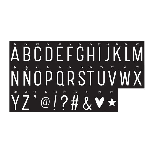 Monochrome letter pack Symbols Set for A4 and A5 Lightboxes