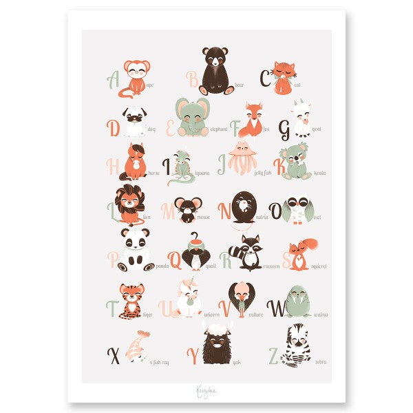 Animal Primer Alphabet Poster by Kanzi Lue