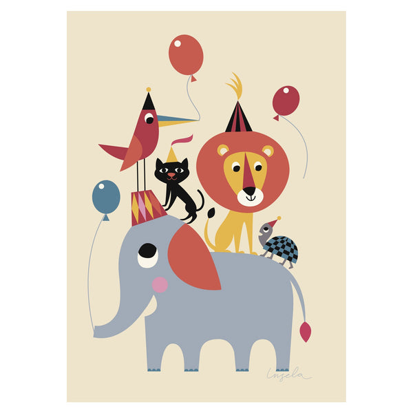 Poster Animal Party by Ingela Arrhenius for Omm Design