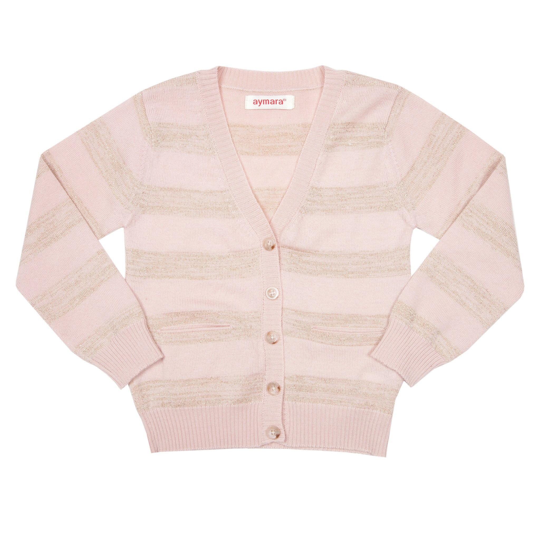 Seraphine Cardigan - Pink & Gold Stripe - Little Citizens Boutique  - 1