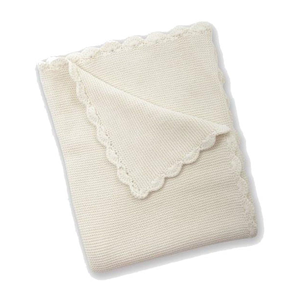 Cream Baby Garter Stitch Blanket by Silvercloud