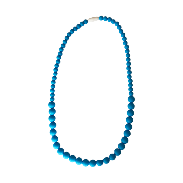 Blue Silicone Beaded Teething Necklace