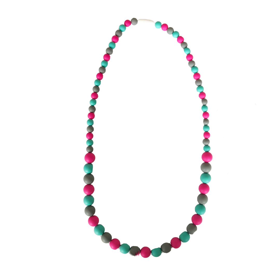 Pink, Turquoise and Grey Silicone Beaded Teething Necklace