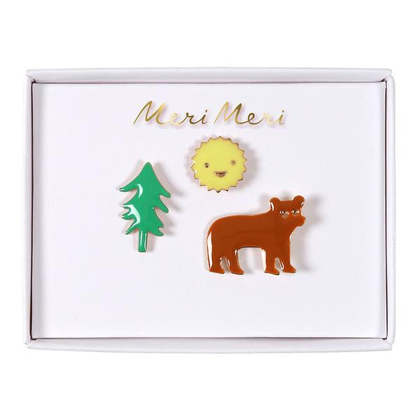 Bear, Sun, Tree Enamel Pins by Meri Meri