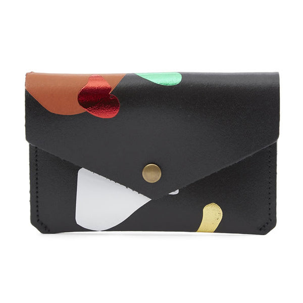 Black Leather Abstract Popper Purse from ARK