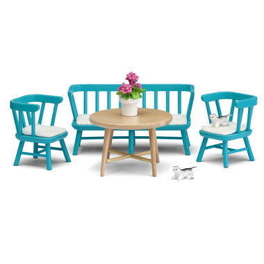 Blue Kitchen Table Dollhouse Toy Furniture Set for Lundby Dollhouse
