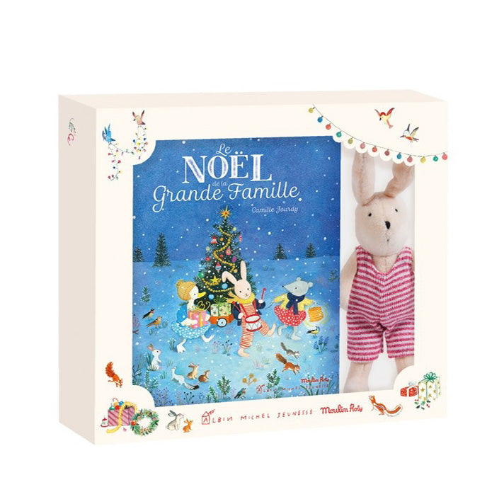 Sylvain the Bunny and the Grand Famille Christmas Story Noel Book by Moulin Roty in French