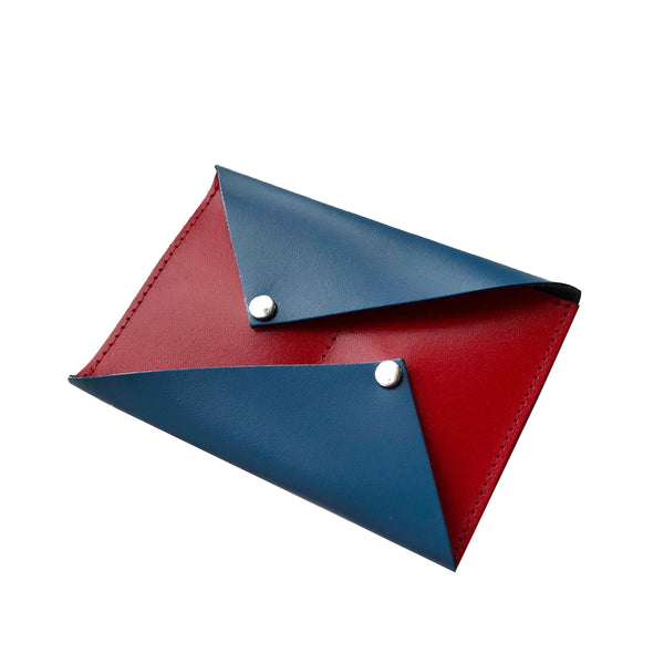 Petrol Blue and Red Bowie Popper Purse and Card Wallet from ARK