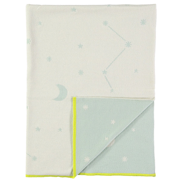 Blue Constellation Knitted Organic Cotton Blanket by Meri Meri