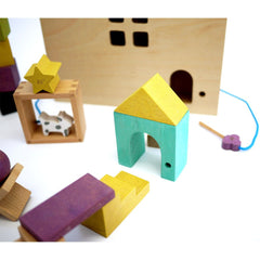 Tsumiki House - Wooden house set with building blocks by Kukkia