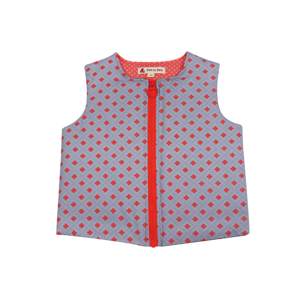 Zip Gilet Dalila Gris from Petit Pan