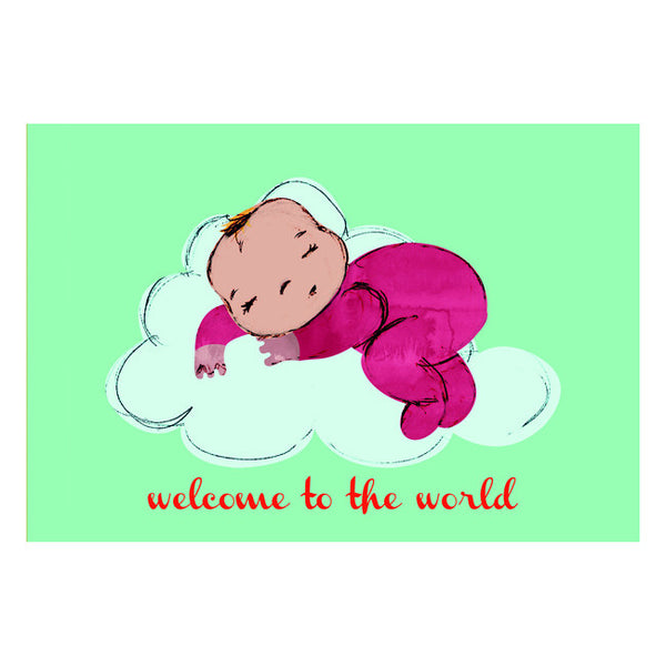 Welcome to the World Newborn Card - Mint Green