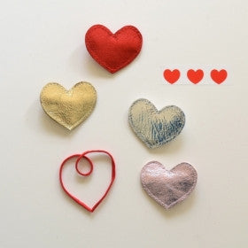 Big Heart - Metallic Leather Hair Clips by Hello Shiso