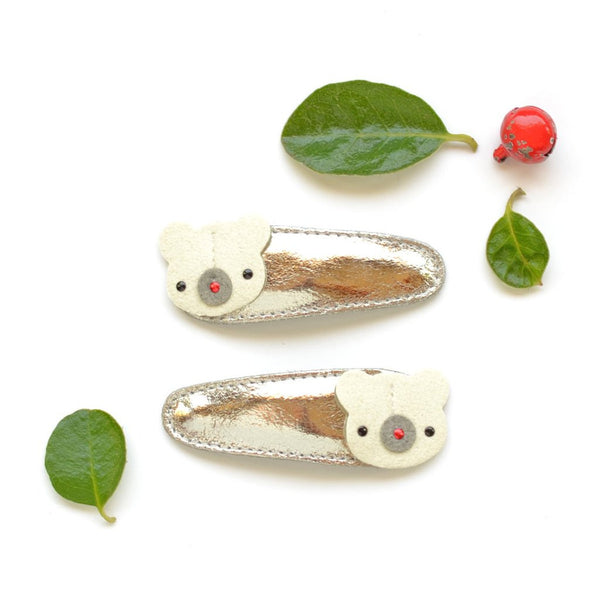 Polar Bear Metallic Leather Hair Clips by Hello Shiso