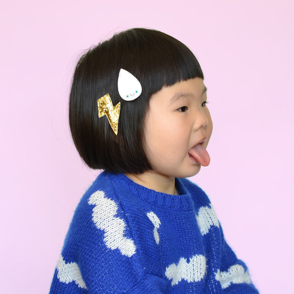 Stormy Weather Rain Drop Hair Clips by Hello Shiso