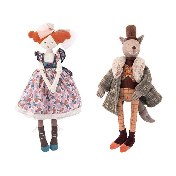 Alluring Dame & Gentleman Wolf Dolls by Moulin Roty