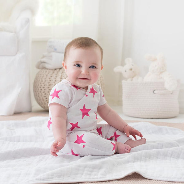 Pink Star Short Sleeve Kimono by Aden and Anais