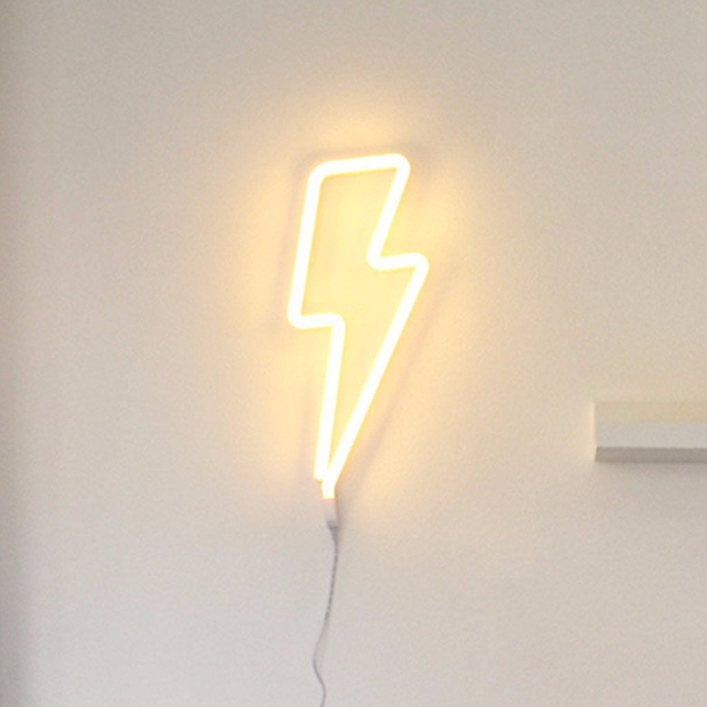 Neon Lightning Bolt Wall Hanging by A Little Lovely Company