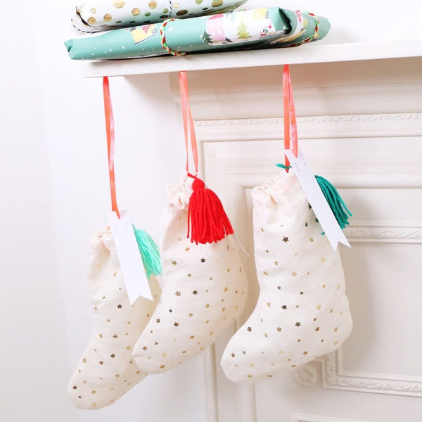 Three Fabric Stocking Gift Bags by Meri Meri