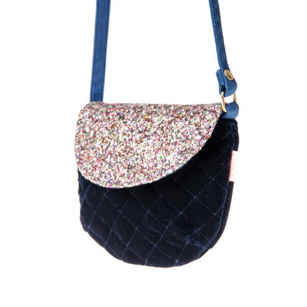 Rainbow Glitter and Quilted Blue Velvet Bag by Rockahula