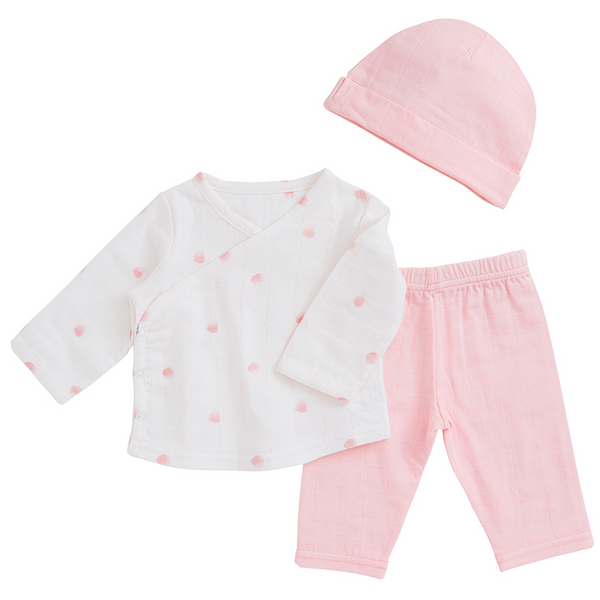 Rose Water Dot Newborn Hat, Vest and Trousers by Aden and Anais