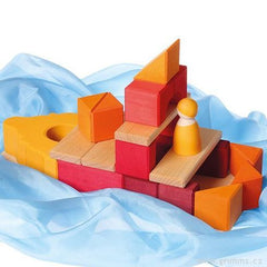 Orange and Red Framehouse Building Blocks by Grimm's