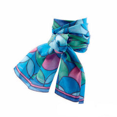 Peacock Silk Painting Scarf by Djeco