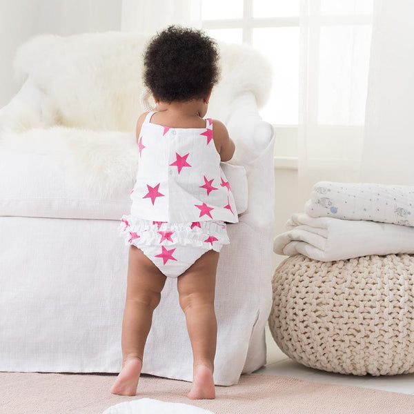 Pink Star Vest and Ruffle Bloomers by Aden and Anais