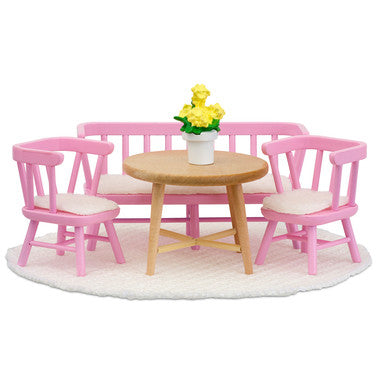 Pink Kitchen Table Dollhouse Furniture Toy Set -Lundby Dollhouse