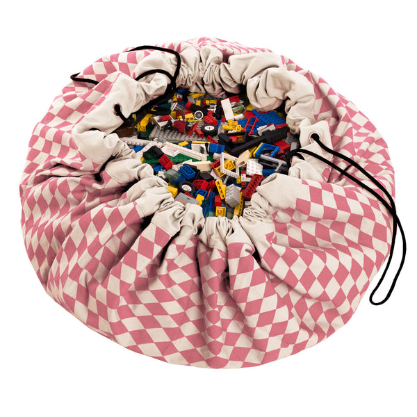 Toy Storage Bag & Mat - in Pink and White by Play & Go