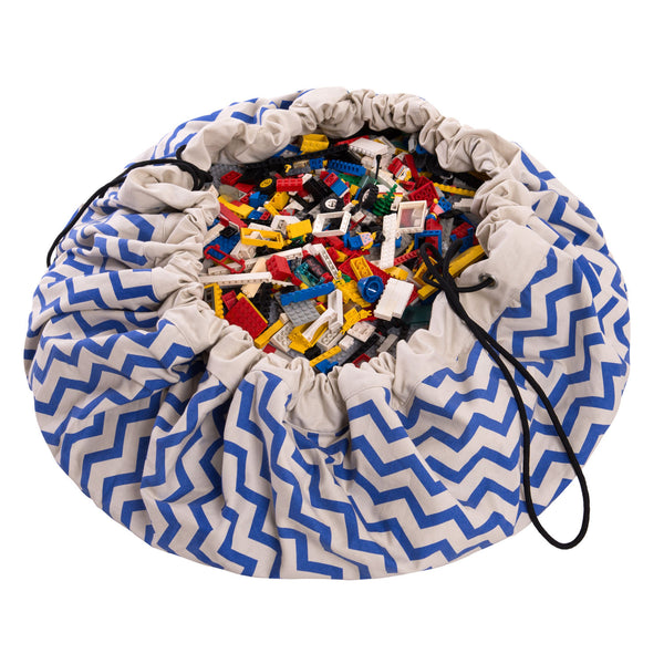 Toy Storage Bag & Mat - Zigzag Blue by Play & Go