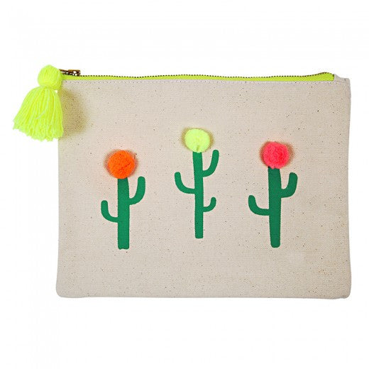 Large Pom Pom Cactus Canvas Pouch by Meri Meri