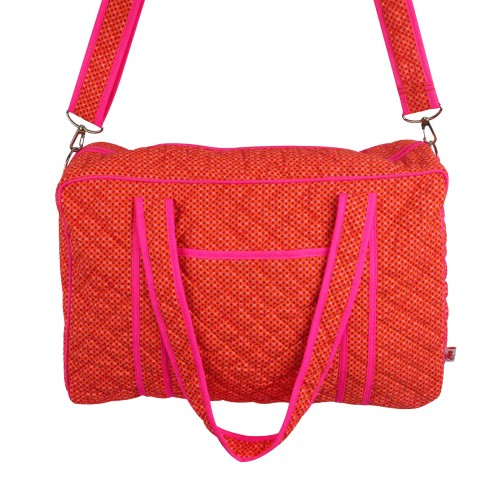 Orange and Pink Quilted Changing Bag by Petit Pan