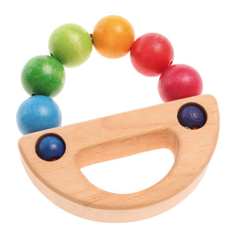 Rainbow Boat Textured Rattle Grasping Baby Toy - Grimm's