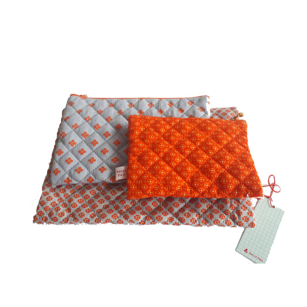 Set of Three Quilted Multi Use Pouches by Petit Pan