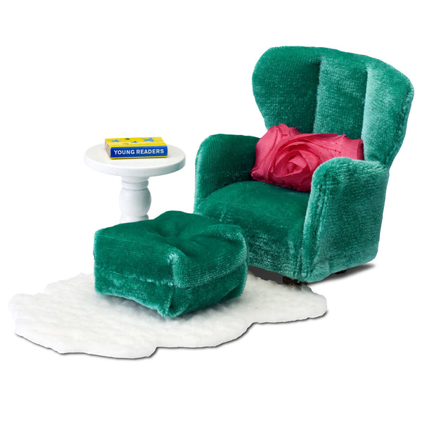 Green Armchair & Footstool Furniture Set by Lundby