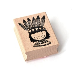 Rubber Ink Stamp - Native American - Little Citizens Boutique