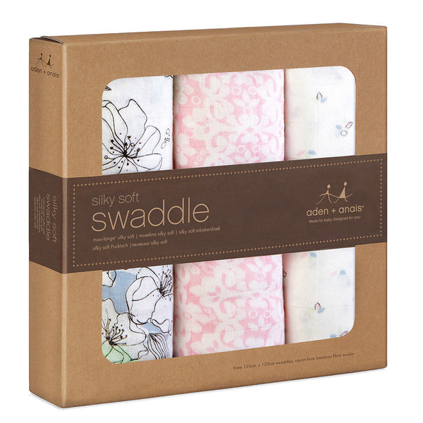 Baby Swaddles by Aden and Anais- 3 pack Soft Pink Flower
