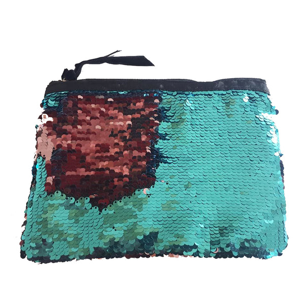 Turquoise and Pink Sequin Change Pouch