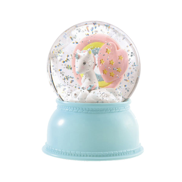Unicorn Night Light Snow Globe by Djeco