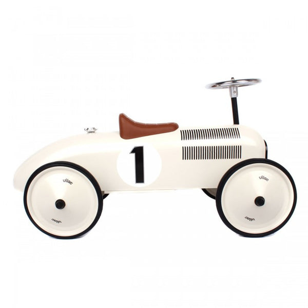 Vintage Tin Ride-On Racing Car - White