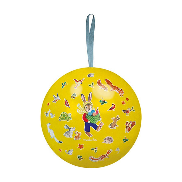 Yellow Christmas Tin Bauble by Moulin Roty