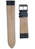 Vegetable Tanned Black Leather Band for Watches - 22 mm