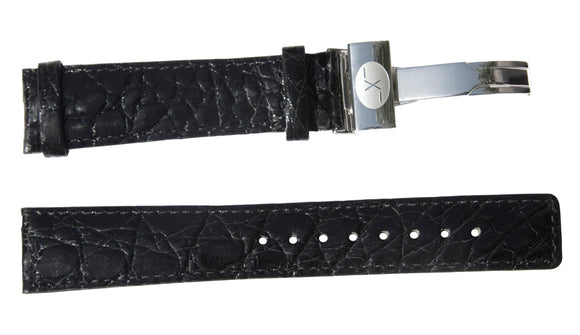 Black Crocodile Leather Band for Watches - 20 mm
