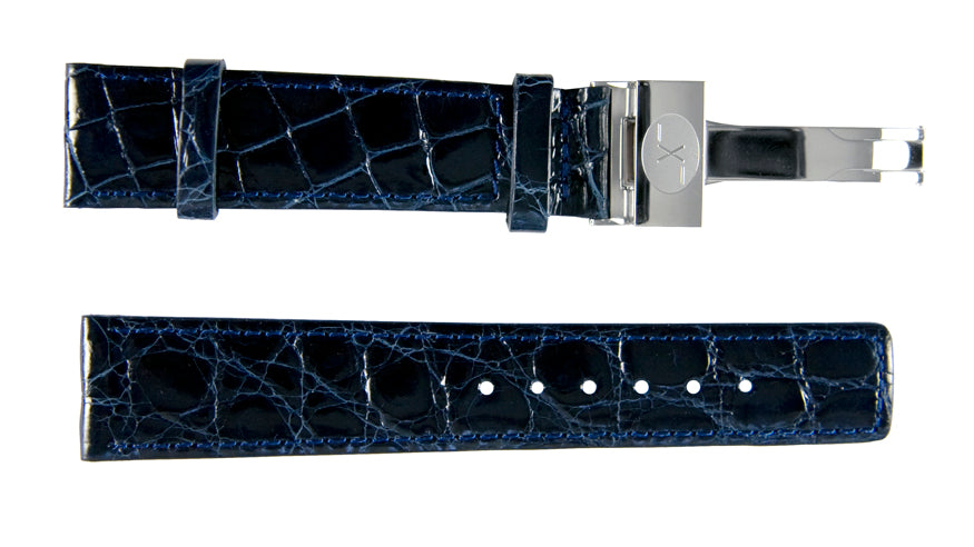 Blue Crocodile Leather Band for Watches - 20 mm