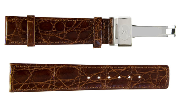 Brown Crocodile Leather Band for Watches - 20 mm
