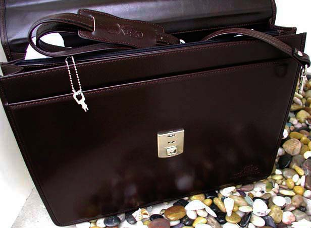 Xezo - Brown Leather Briefcase