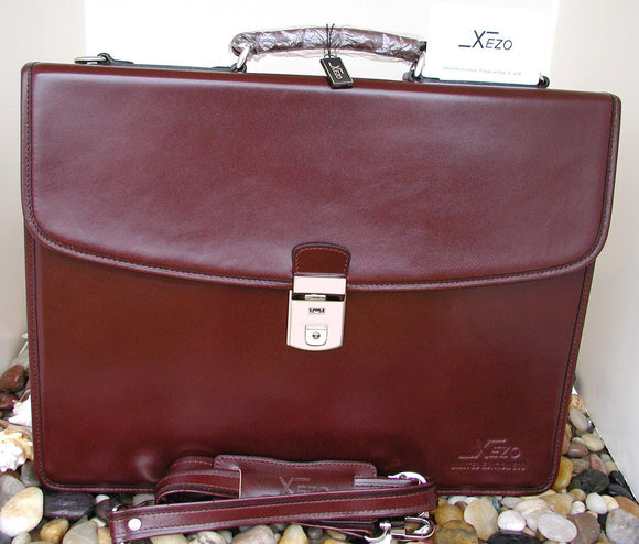 Xezo - Maroon Leather Briefcase