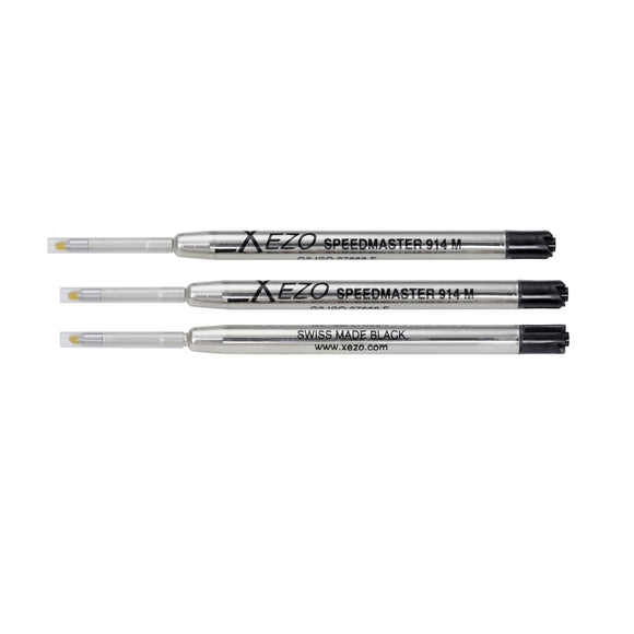 Xezo Speedmaster 914 Black Ballpoint Gel Refills - Pack of 3.
