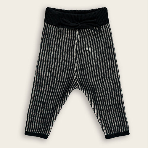 Knit Baby Long Pants, Coal & Oat Stripes